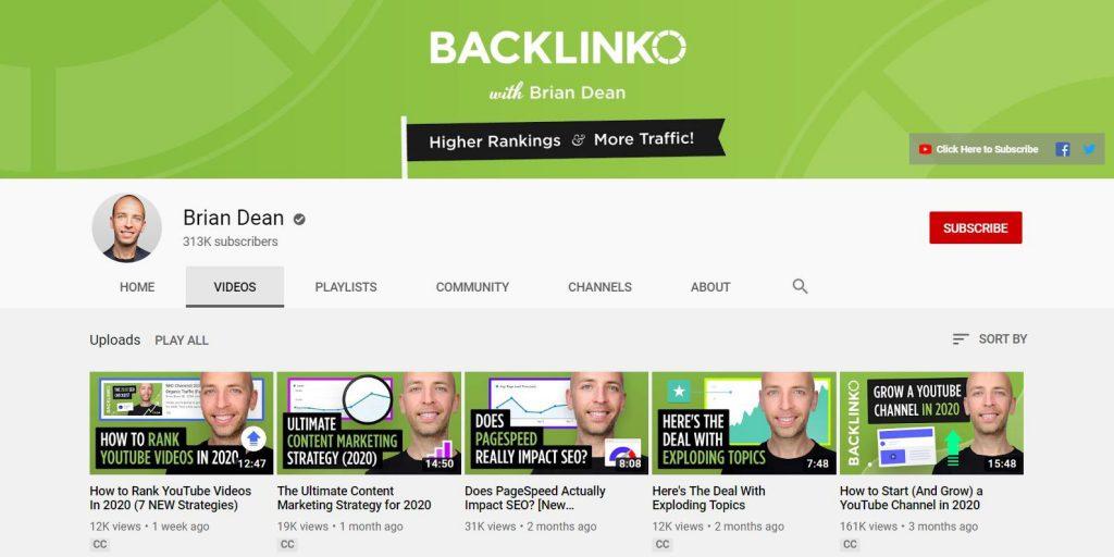 ערוץ היוטיוב של בריאן דין - backlinko