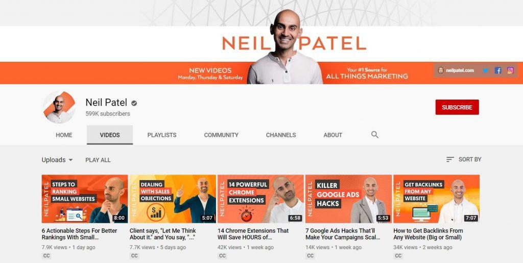 ערוץ היוטיוב של ניל פאטל